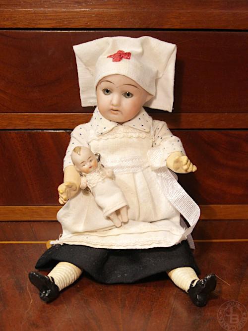 Antique bisque doll Nurse with Baby19cm