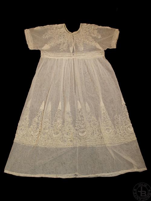 ビンテージ ベビードレス コード刺繍 85cm