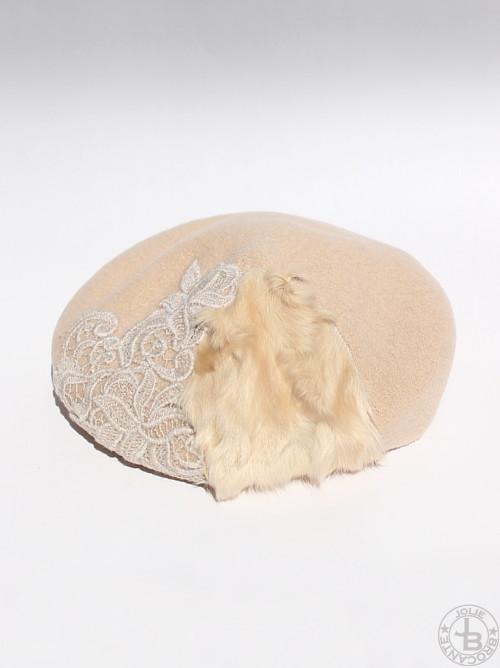 SHINYA Fur+Lace Beret