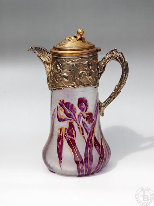 Victor Saglier Art Nouveau Cameo glass Pitcher