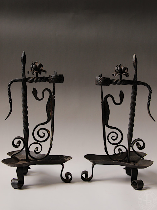 Antique Iron Candle Holder snake Pair