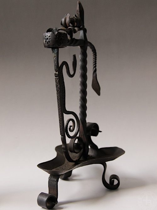 Antique Iron Candle Holder snake A