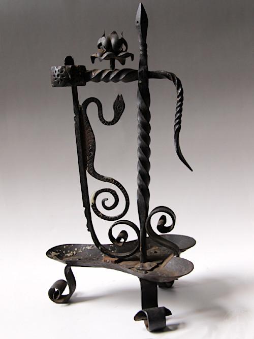Antique Iron Candle Holder snake B