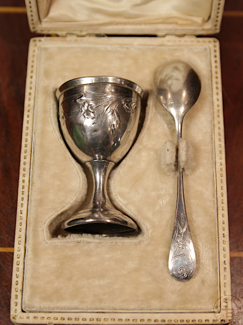 Antique Silver Egg Stand&Spoon with Box Art Nouveau