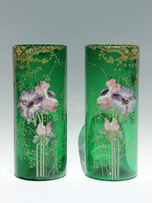 Art Nouveau Legras Anemone Vase Pair 24cm