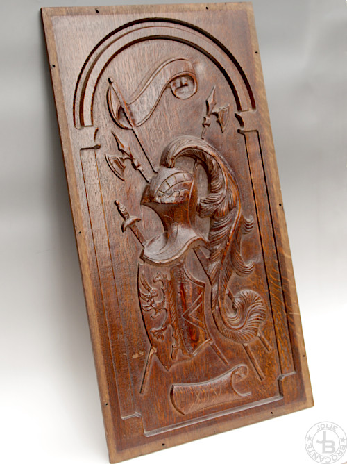 Antique Wood Carving Coat of arms panel